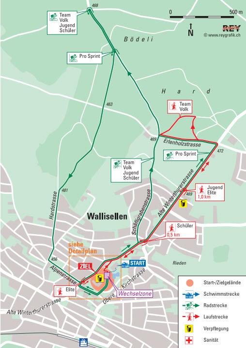 Walliseller Triathlon: Radfahrstrecke
