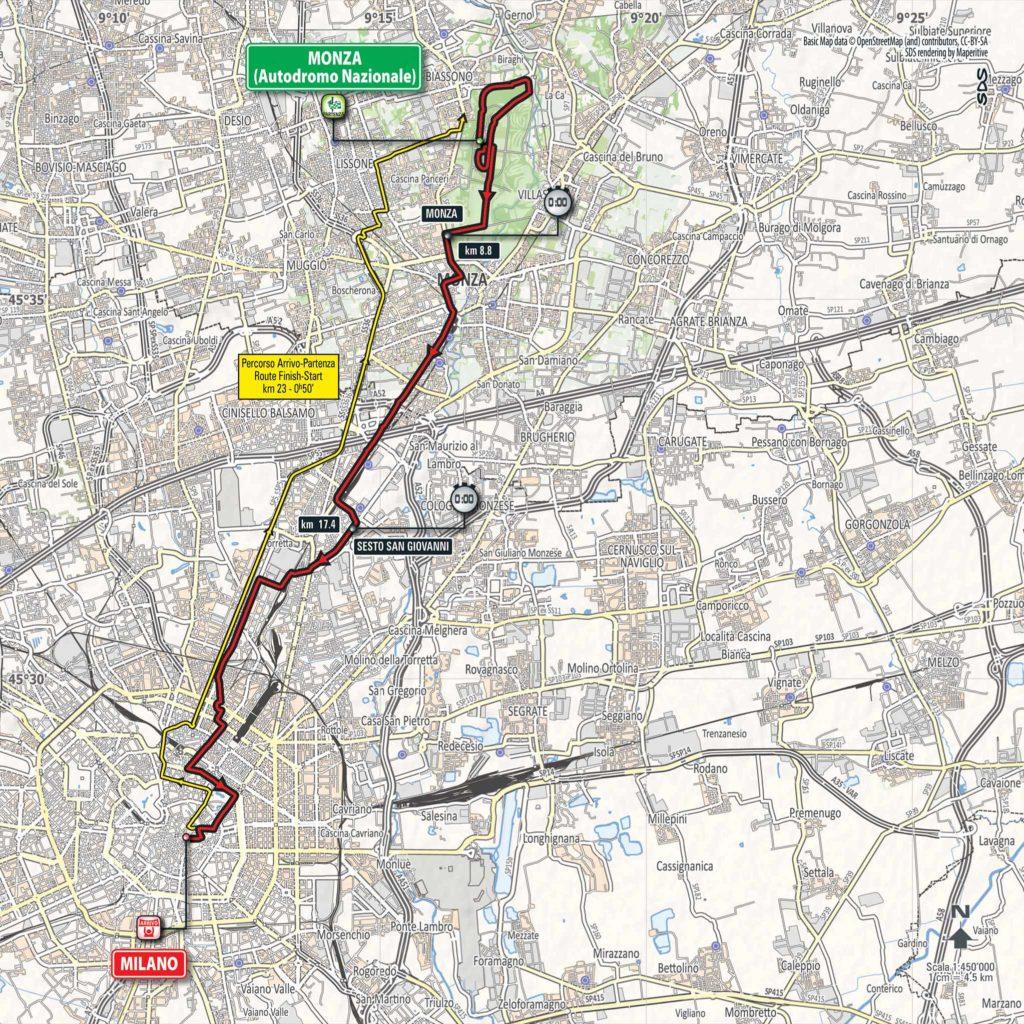 Karte der Etappe Nummer 21 des Giro d'Italia 2017