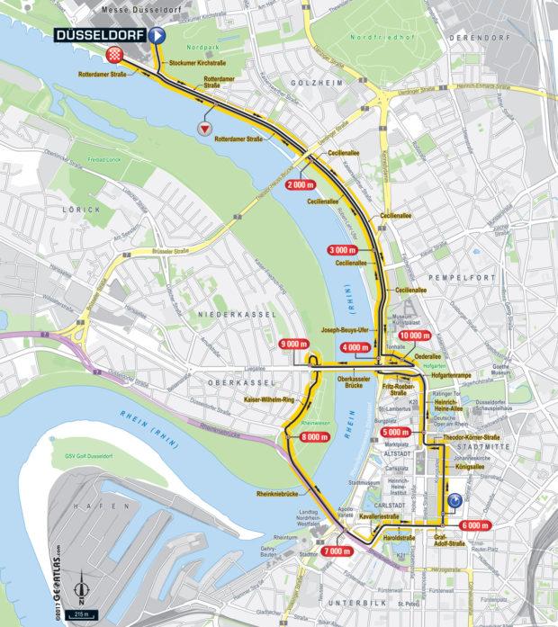 Karte der Etappe Nummer 1 der Tour de France 2017