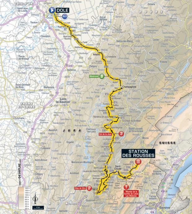 Karte der Etappe Nummer 8 der Tour de France 2017