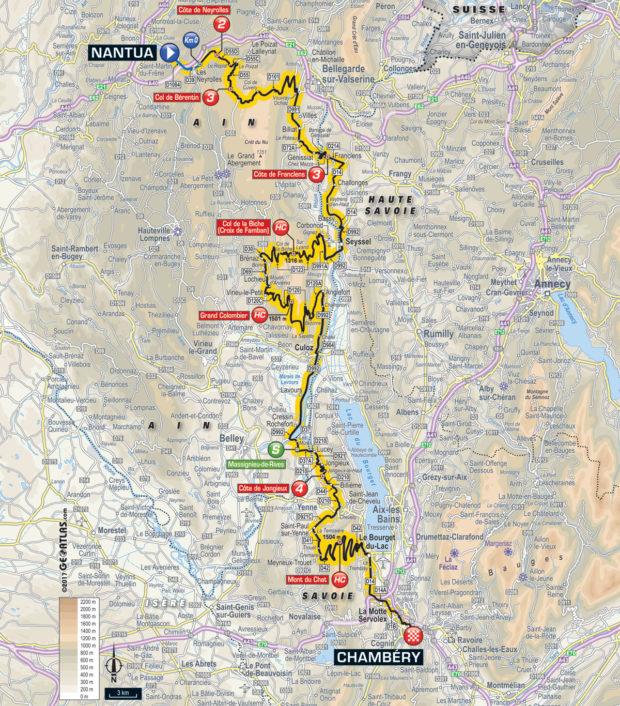 Karte der Etappe Nummer 9 der Tour de France 2017