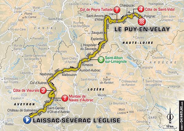 Karte der Etappe Nummer 15 der Tour de France 2017