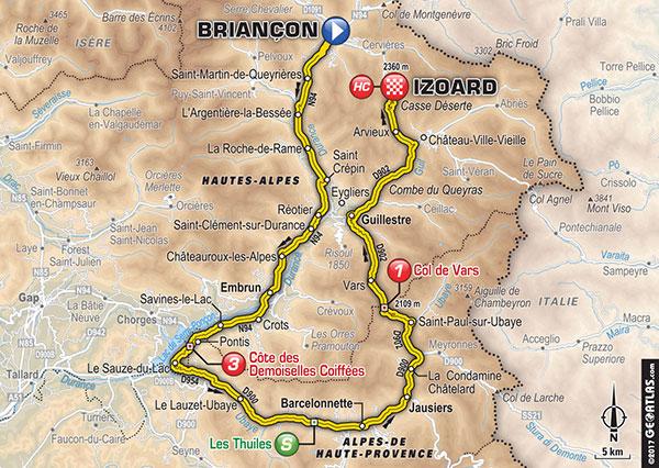 Karte der Etappe Nummer 18 der Tour de France 2017