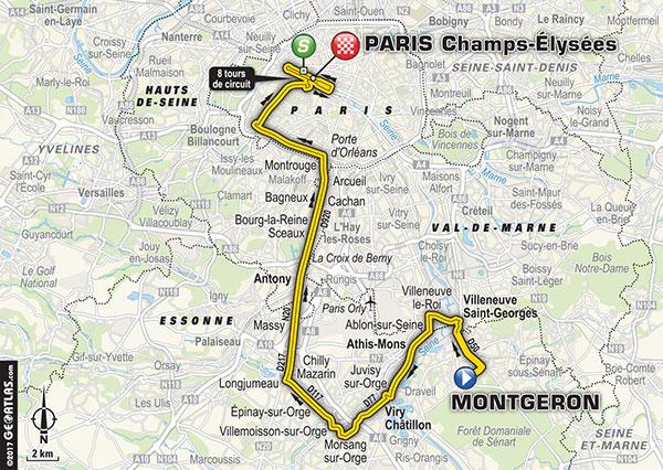 Karte der Etappe Nummer 21 der Tour de France 2017