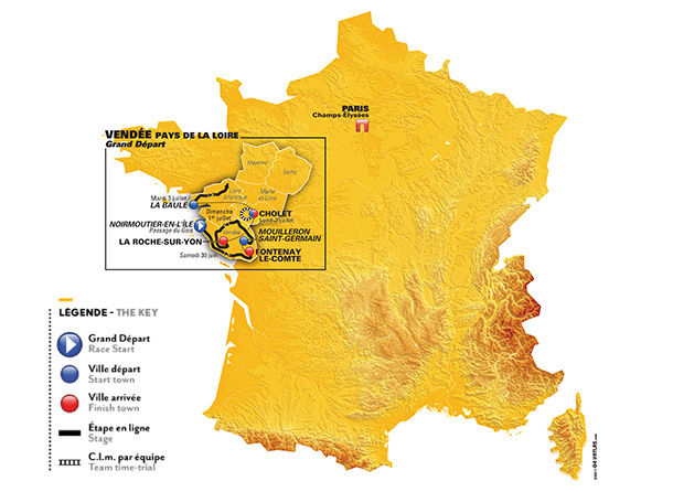 Karte der Tour de France 2018