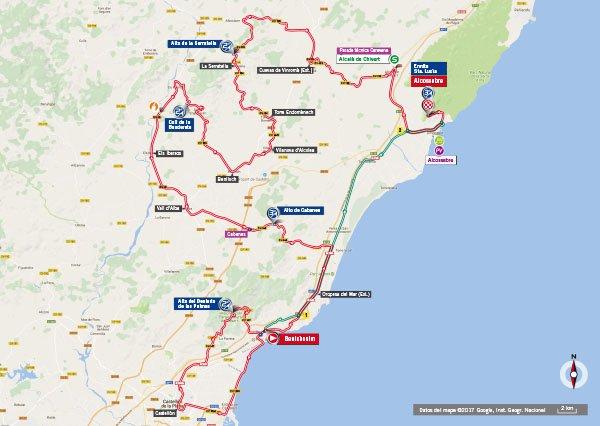 Karte der Etappe Nummer 5 der Vuelta España 2017