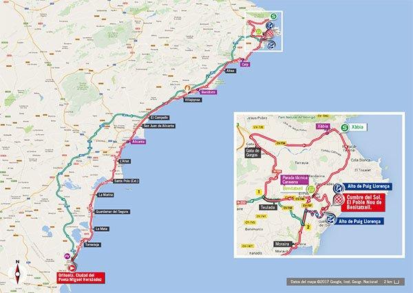Karte der Etappe Nummer 9 der Vuelta España 2017