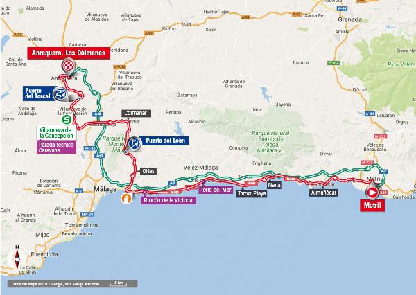 Karte der Etappe Nummer 12 der Vuelta España 2017