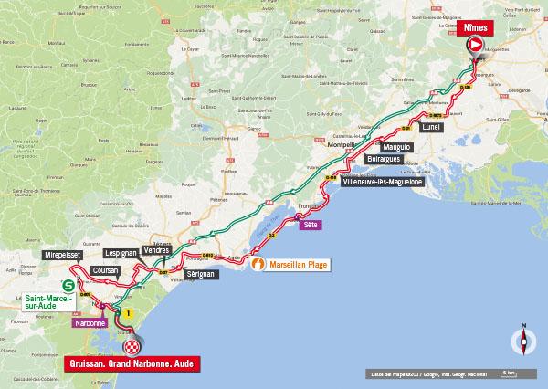 Karte der Etappe Nummer 2 der Vuelta España 2017