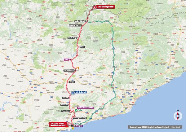 Karte der Etappe Nummer 4 der Vuelta España 2017
