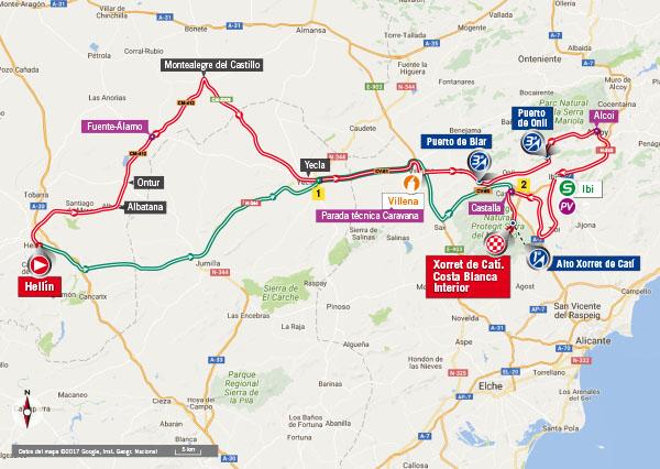 Karte der Etappe Nummer 8 der Vuelta España 2017
