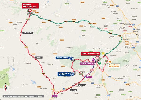 Karte der Etappe Nummer 10 der Vuelta España 2017