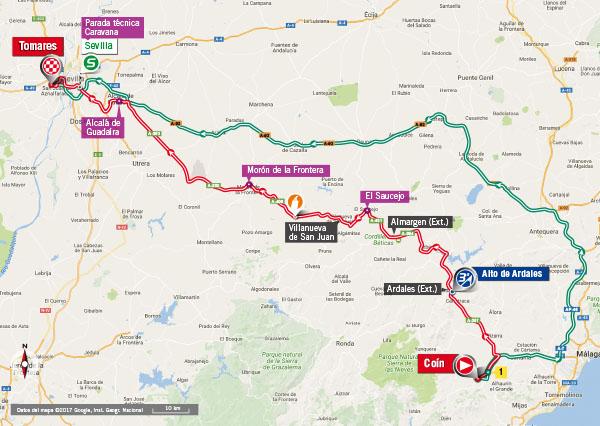 Karte der Etappe Nummer 13 der Vuelta España 2017