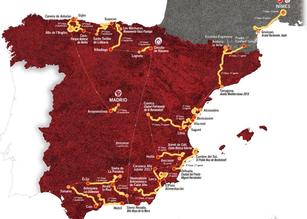 Karte Vuelta España 2017
