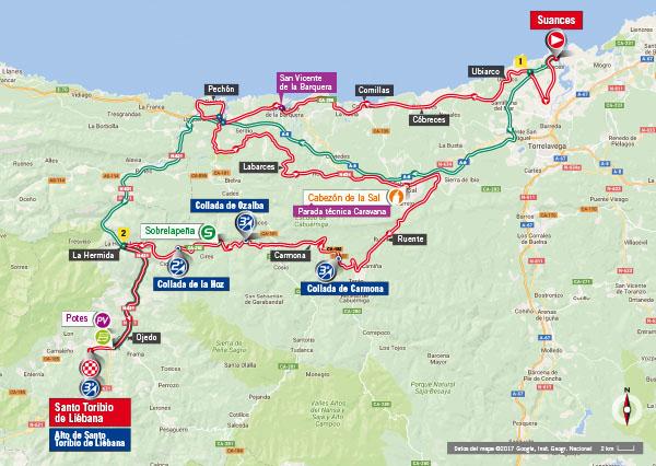 Karte der Etappe Nummer 18 der Vuelta España 2017