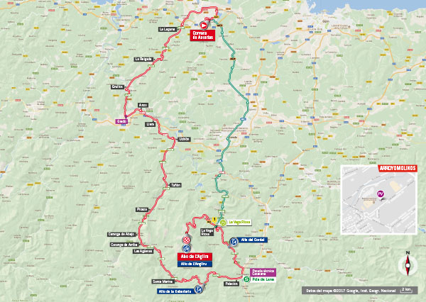 Karte der Etappe Nummer 20 der Vuelta España 2017