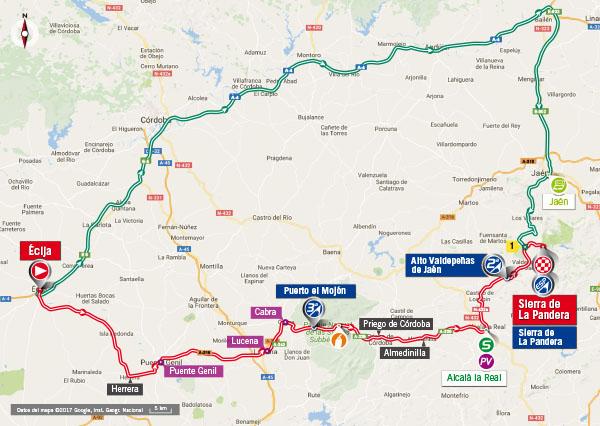 Karte der Etappe Nummer 14 der Vuelta España 2017