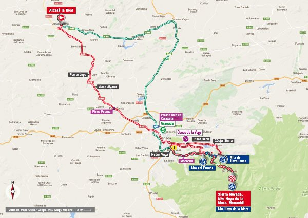 Karte der Etappe Nummer 15 der Vuelta España 2017