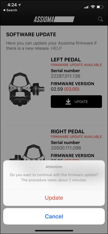 Favero App Pedalupdate