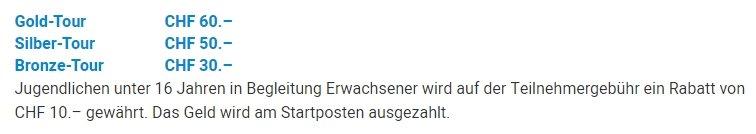 Startgeld der drei Bodensee Radmarathonstrecken