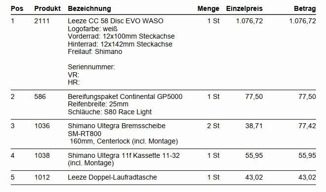Kosten der Laufräder
