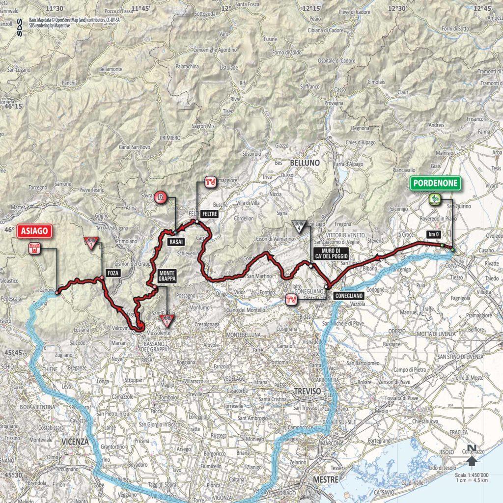 Karte der Etappe Nummer 20 des Giro d'Italia 2017