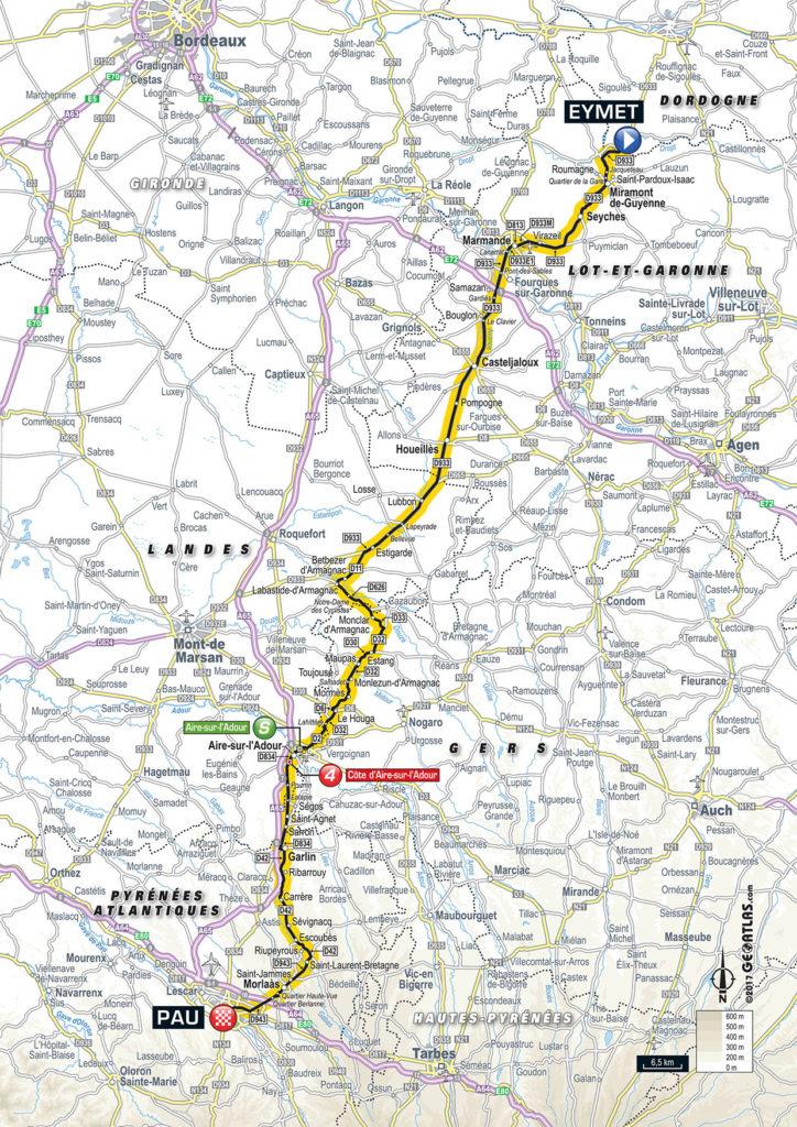 Karte der Etappe Nummer 11 der Tour de France 2017