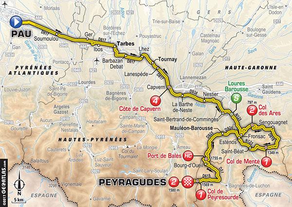 Karte der Etappe Nummer 12 der Tour de France 2017