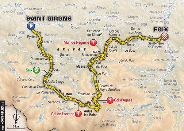 Karte der Etappe Nummer 13 der Tour de France 2017