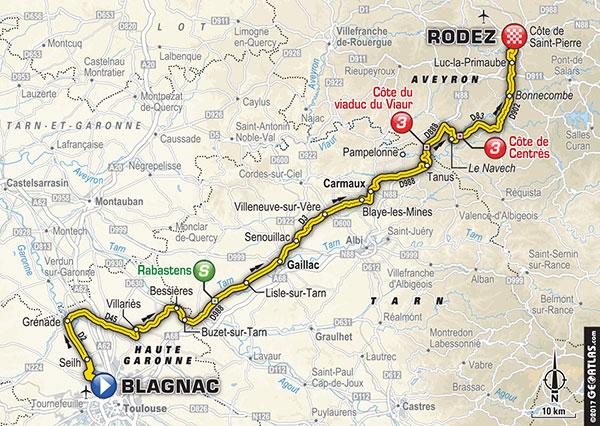 Karte der Etappe Nummer 14 der Tour de France 2017