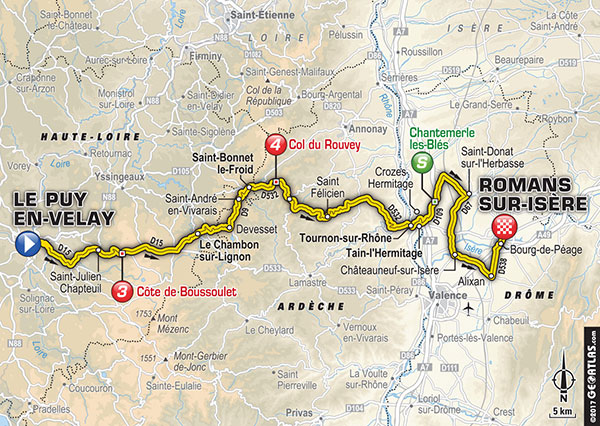 Karte der Etappe Nummer 16 der Tour de France 2017