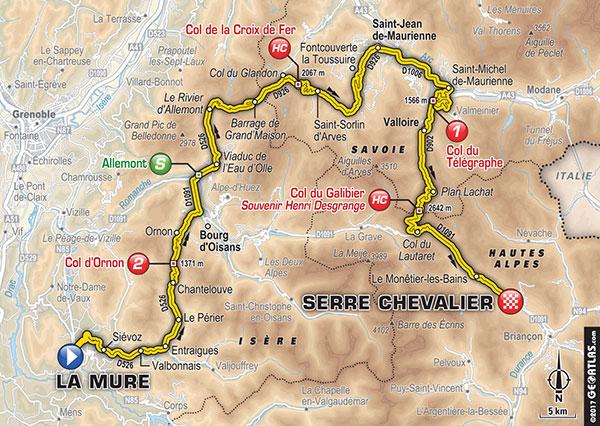 Karte der Etappe Nummer 17 der Tour de France 2017
