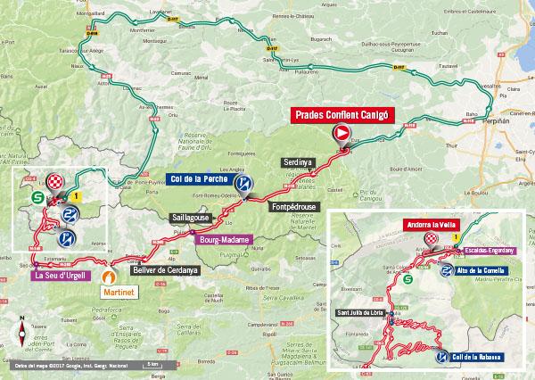 Karte der Etappe Nummer 3 der Vuelta España 2017