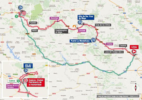 Karte der Etappe Nummer 7 der Vuelta España 2017