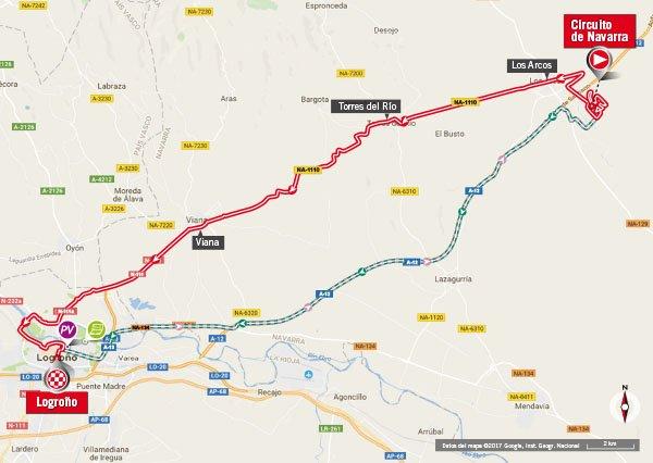 Karte der Etappe Nummer 16 der Vuelta España 2017