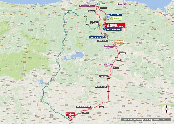 Karte der Etappe Nummer 17 der Vuelta España 2017