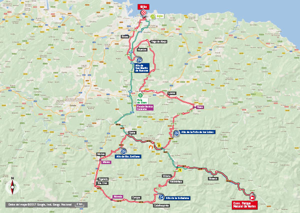 Karte der Etappe Nummer 19 der Vuelta España 2017