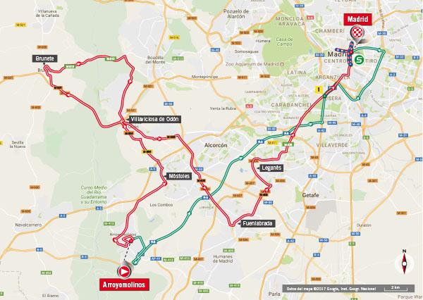 Karte der Etappe Nummer 21 der Vuelta España 2017