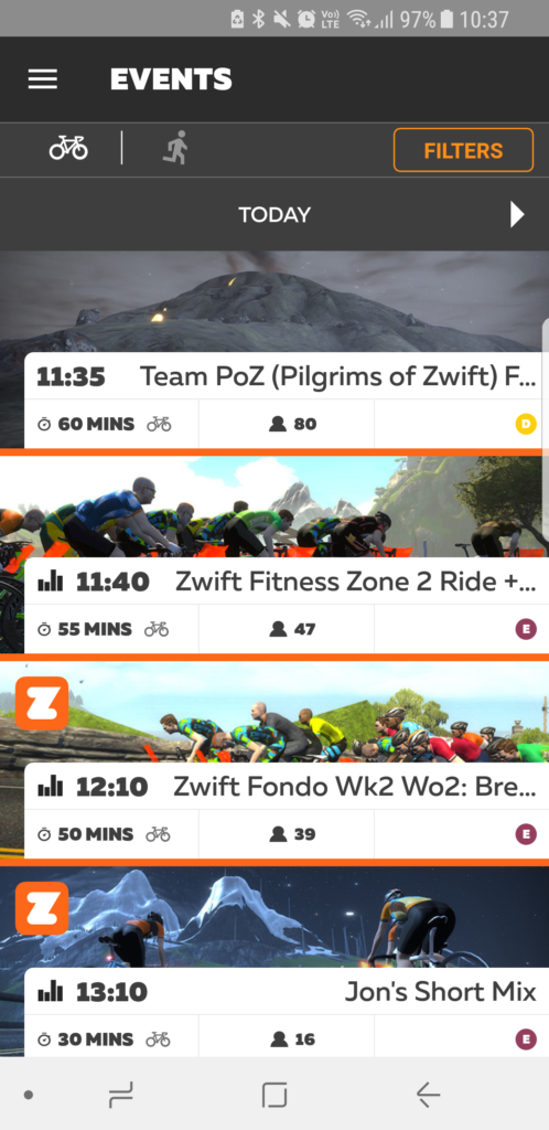 Zwift Mobile Link App Events