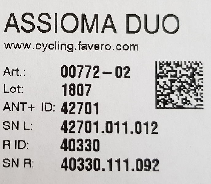 Assioma DUO ANT+ ID